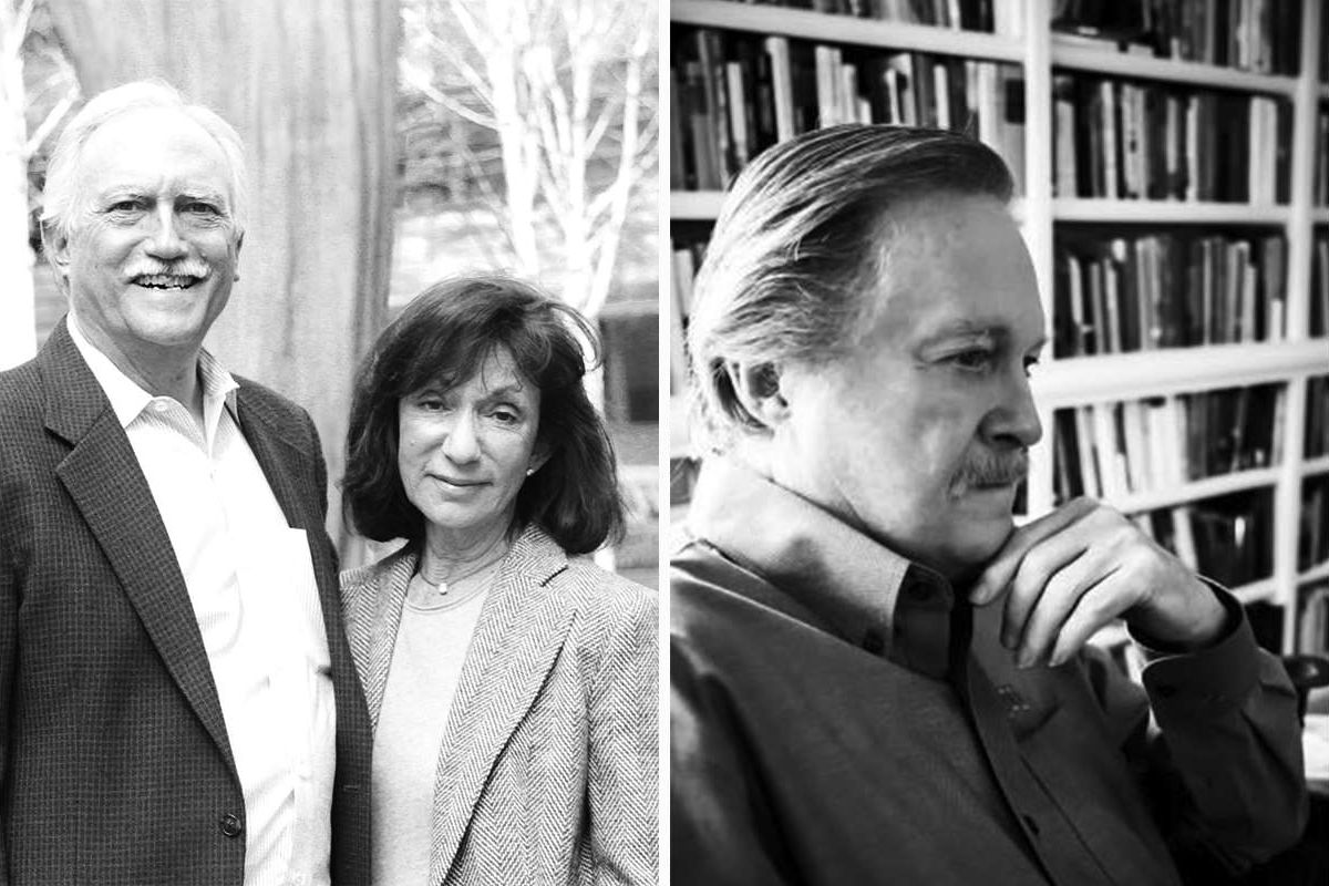 Dr. Ronald E. Moore (left) and Mike and Jackie Bezos (right)